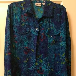 Chicos Women's Blue Green Blouse Size 1 100% Silk
